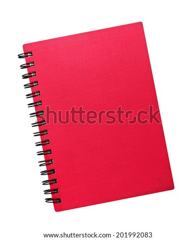 Red notepad isolated on white background - stock photo