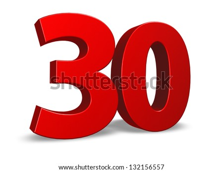 red number thirty on white background - 3d illustration - stock photo