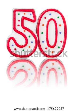Red number 50 with reflection - stock photo