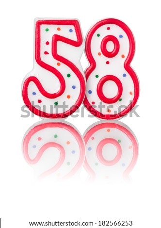 Red number 58 with reflection on a white background - stock photo