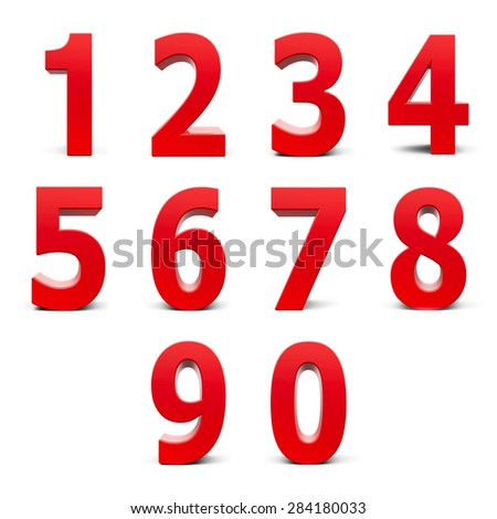 Red numbers set from 0 to 9 isolated on white background, three-dimensional rendering - stock photo