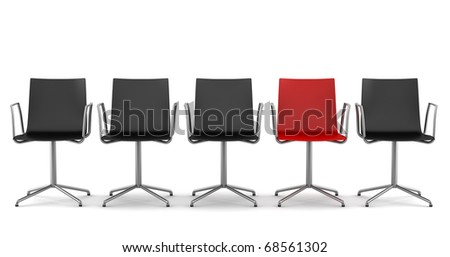 red office chair among black chairs isolated on white background - stock photo