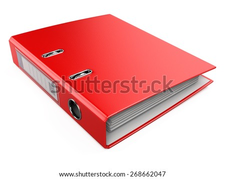 Red Office Folder Ring Binder Isolated on White Background - stock photo