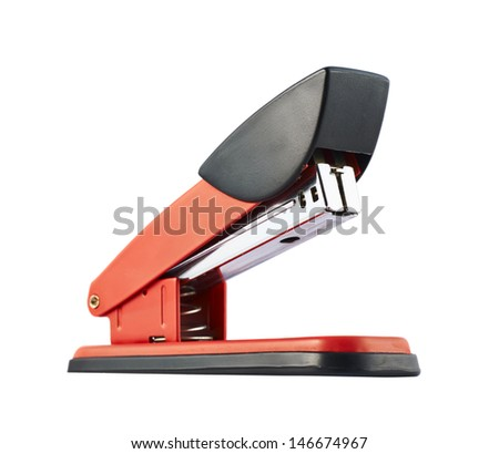 Red office stapler isolated over white background - stock photo