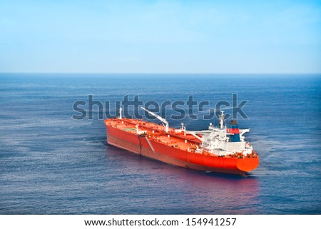 Red oil tanker. - stock photo