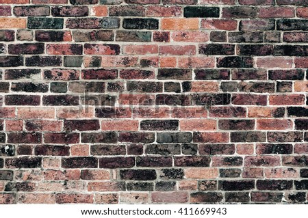 Red old clay brick wall damaged and weathered empty background texture  - stock photo