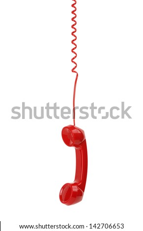 Red old fashioned telephone receiver hanging on cable isolated on a white - stock photo
