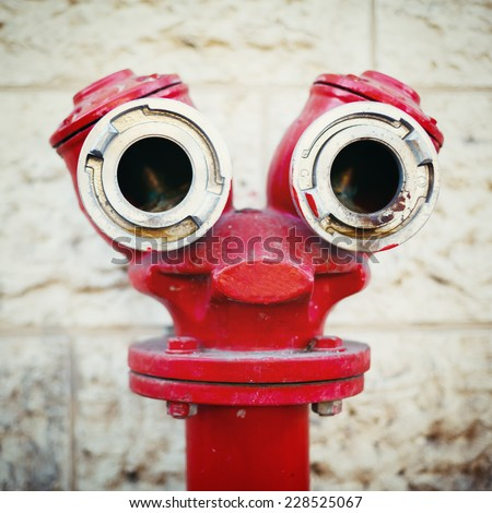 Red old fire hydrant on a street, looking like a face. Instagram style.  - stock photo