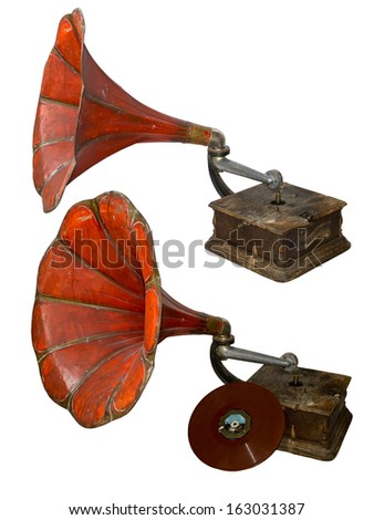 Red old gramophone isolated on white - stock photo