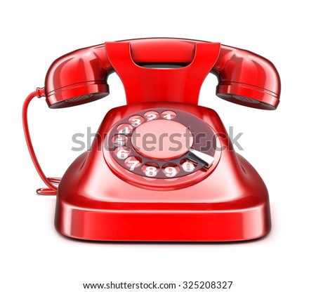 Red old telephone on white background(done in 3d)  - stock photo