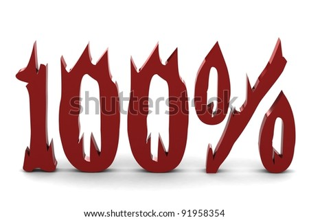 Red one hundred percent - stock photo