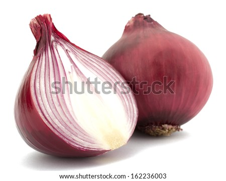 Red onion and isolated on white background - stock photo
