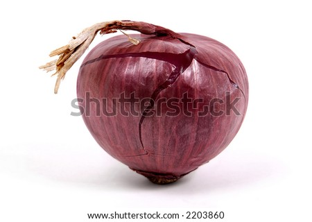 red onion on white background - stock photo