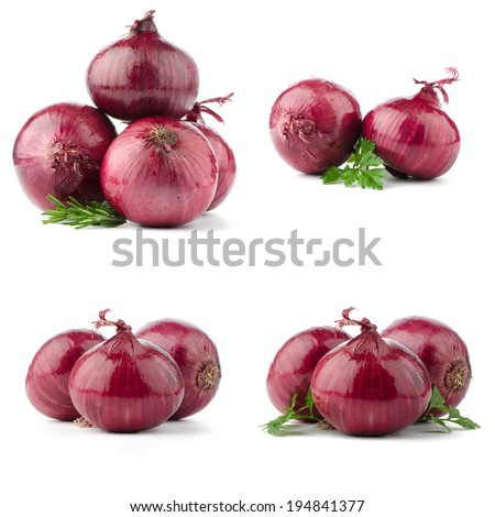 Red onions isolated on white background - stock photo