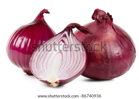 Red onions over white background - stock photo