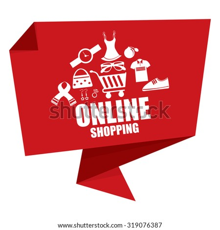 Red Online Shopping Paper Origami Speech Bubble or Speech Balloon Infographics Sticker, Label, Sign or Icon Isolated on White Background - stock photo