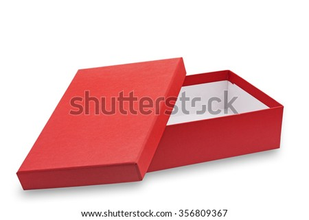 Red open cardboard box on white background - stock photo