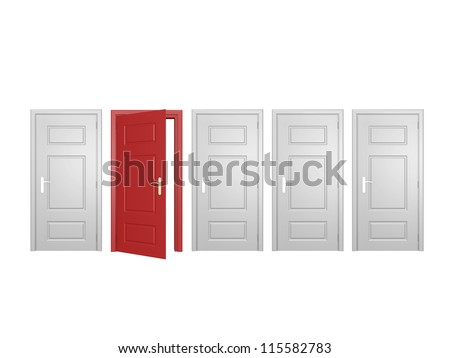 Red open door standing out from the crowd, isolated on white background. - stock photo
