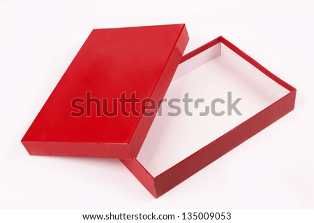 red open empty box isolated over white background - stock photo
