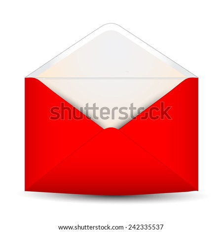 Red open envelope on a white background - stock photo