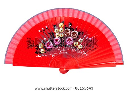Red open fan isolated against a white background. - stock photo