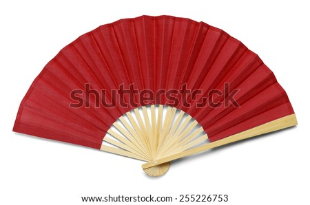 Red Open Hand Fan Isolated on a White Background. - stock photo