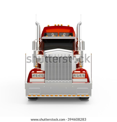 Red Orange american truck front view isolated on white background - stock photo
