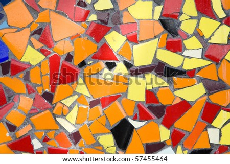 red orange and yellow rustic mosaic tile pattern - stock photo
