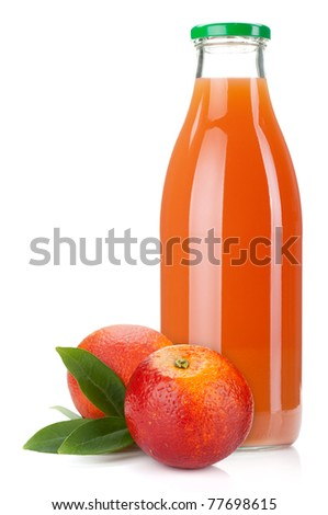 Red orange juice glass bottle and oranges. Isolated on white background - stock photo