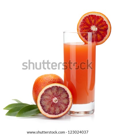 Red orange juice in a glass and oranges. Isolated on white background - stock photo