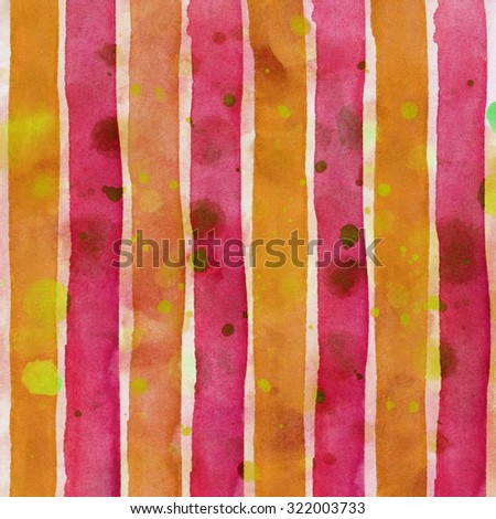 Red, orange Watercolor hand painted brush strokes, striped background - stock photo