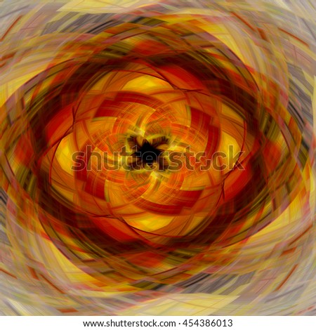 Red orange yellow brown twirl twist spin kaleidoscope design background backdrop unique pattern design  - stock photo
