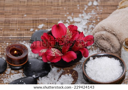 red orchid with pile of salt and ,towel on mat background - stock photo