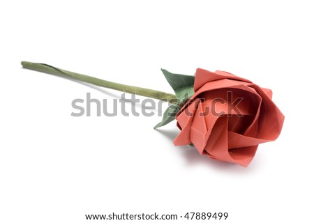 Red origami rose made of paper isolated in white - stock photo