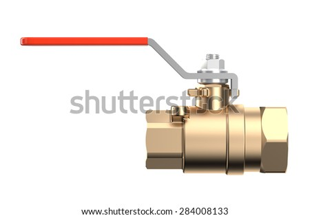 red �oupling Ball Valve isolated on white background - stock photo