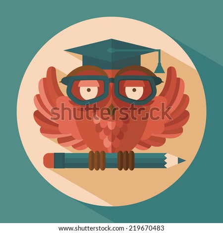 Red owl in graduation cap holding pencil flat  illustration - stock photo