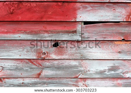 Red Paint Aged on Gray Weathered Wood Abstract Background - stock photo