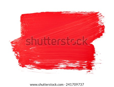 Red paint brush texture isolated on white - stock photo