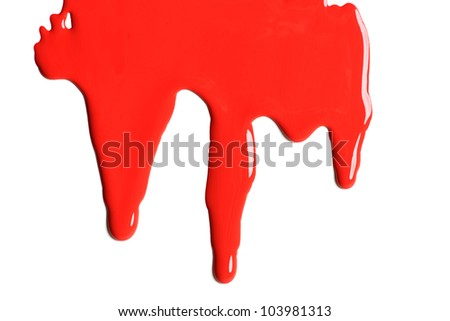 Red paint dripping on a white background - stock photo