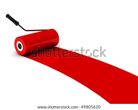 Red paint roller isolated on white background. High quality 3d render. - stock photo