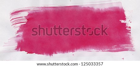 Red paint stroke on art paper background - stock photo
