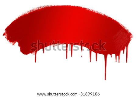 Red painted banner - stock photo