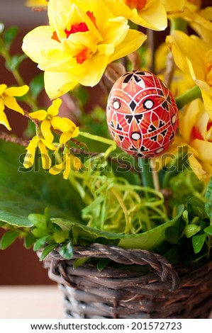 Red painted eggs - Easter decoration - stock photo