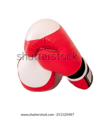 Red pair of boxing-gloves isolated on white background. - stock photo