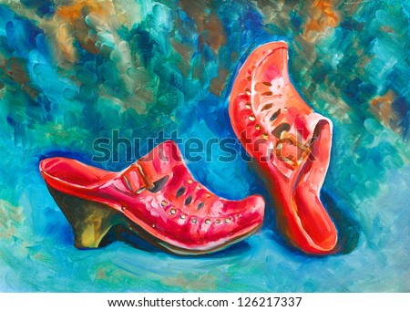 red pair of shoes Saba women shoes old beautiful from an opaque red skin on the blue green background is painted with oil paints on canvas - stock photo