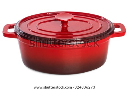 Red Pan for cooking the daily meal. - stock photo
