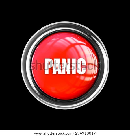 Red panic button isolated on black  background. High resolution 3d  - stock photo