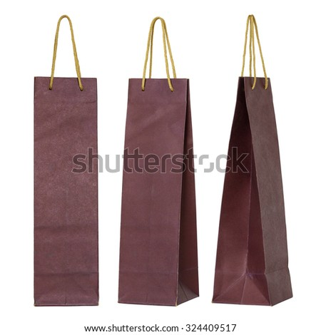 red paper bag for wine bottles isolated on white - stock photo