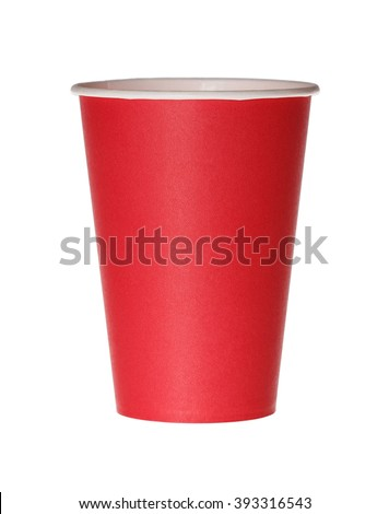 Red paper cup isolated on white. - stock photo
