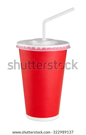 Red paper cup isolated on white background. Close up. - stock photo
